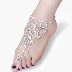 PAIR Rhinestone Crystal Bare Foot Sandal Anklet